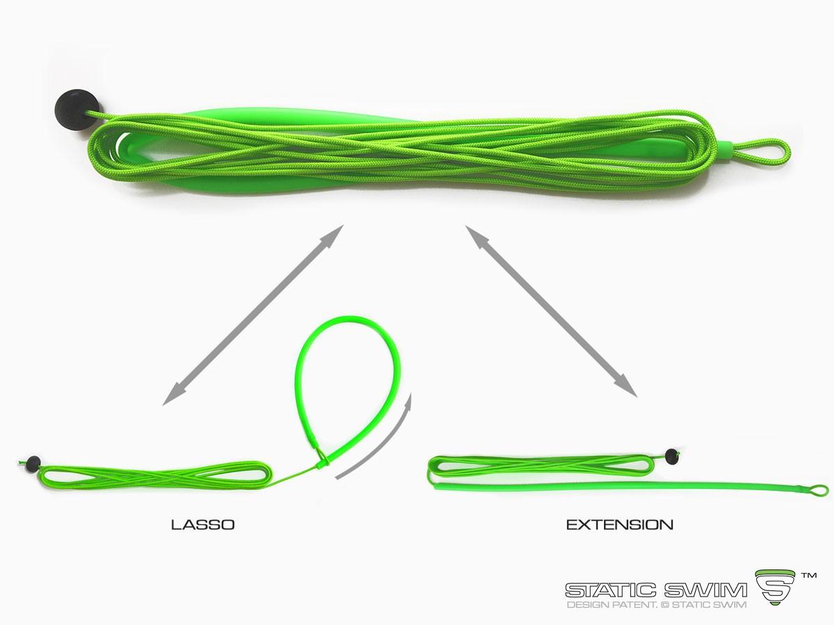Le lasso/rallonge STATIC SWIM™ s'utilise en tant que : Fixation lorsqu'il est placé autour d'un support. Rallonge lorsqu'il est placé entre un élastique et une fixation.