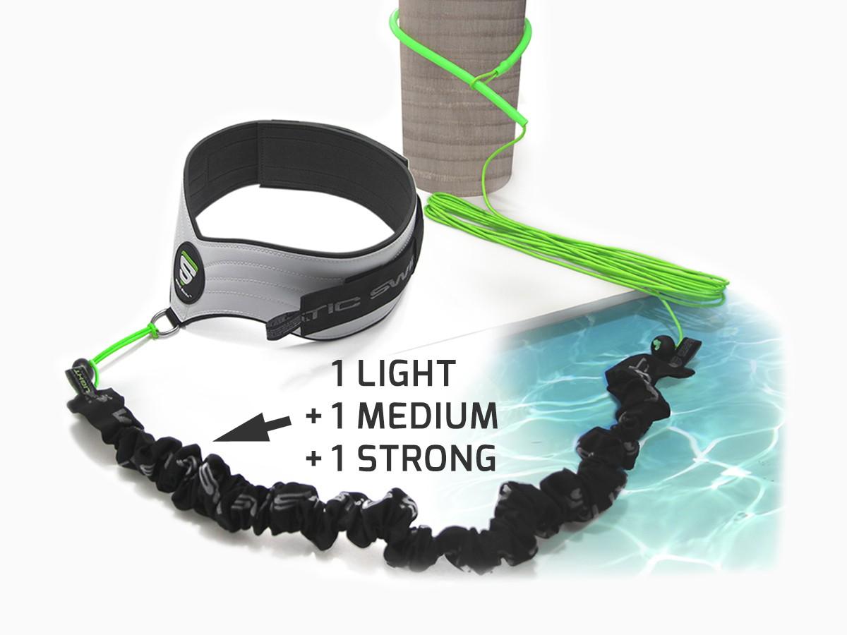 Grâce au lasso/rallonge STATIC SWIM™, fixez votre équipement* de nage sur tout type de poteau, barrière métallique, arbre, arbuste... La longueur est ajustable jusqu'à 7 m. Installation immédiate (sans outil).