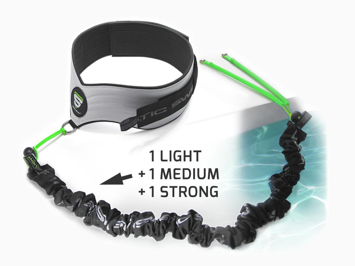 Contient : • La ceinture STATIC SWIM™ • Les trois élastiques de nage, LIGHT, MEDIUM et STRONG pour tous types d'utilisation • La fixation pour plage en carrelage, pierres naturelles ...
