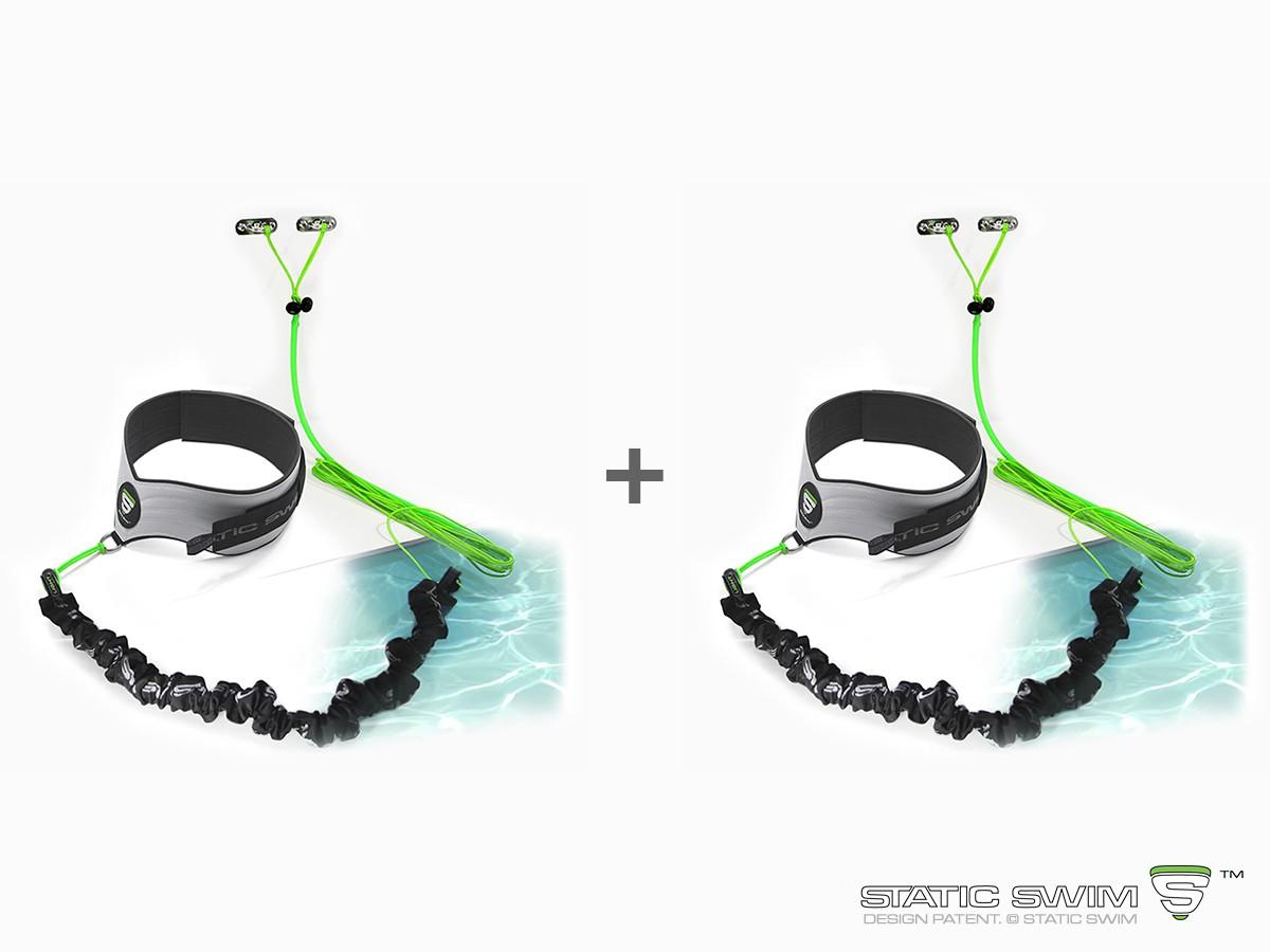 Contient : •2 Ceintures de nage STATIC SWIM™ • 2 élastiques de nage LIGHT, 2 élastiques de nage MEDIUM et 2 élastiques de nage STRONG pour tous types d'utilisation • 2 Fixations pour mur situé jusqu'à 7 m.