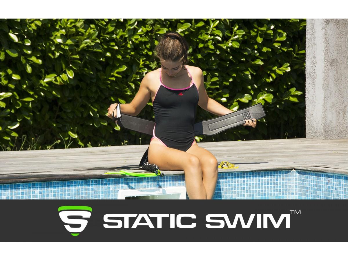 Ceinture de nage Static Swim™. INTERIEUR ULTRA DOUX. TAILLE AJUSTABLE de 65 cm a 110 cm. Pour toutes et pour tous. Waterproof, SECHAGE IMMEDIAT.