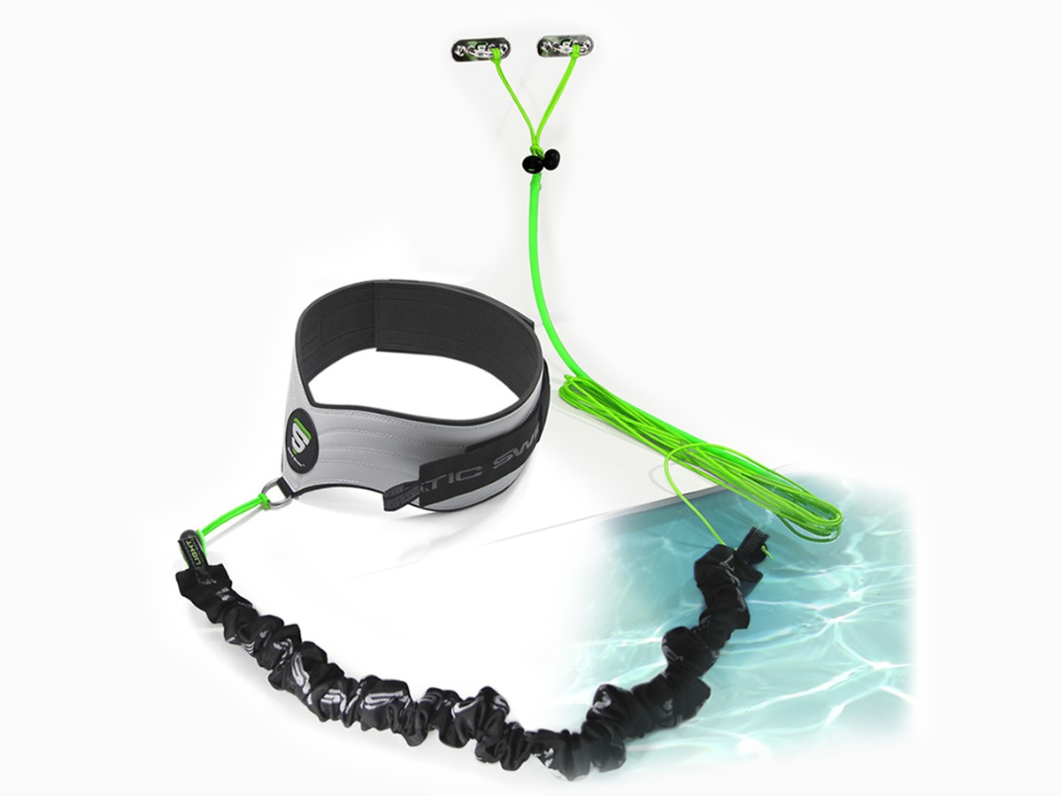 Contains: • 1 belt (male/female) for free and unhindered swimming • 1 set of 3 elastic swim bands, LIGHT, MEDIUM and STRONG • 1 Wall attachment adjustable up to 7 meters
