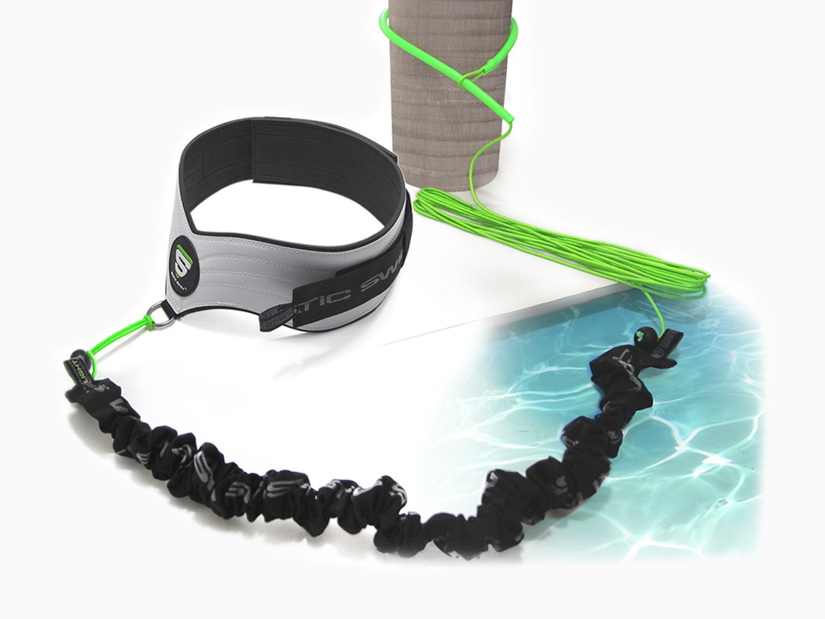 Contains: • 1 belt (male/female) for free and unhindered swimming • 1 set of 3 elastic swim bands, LIGHT, MEDIUM and STRONG • 1 Lasso/Extension device adjustable up to 7 meters