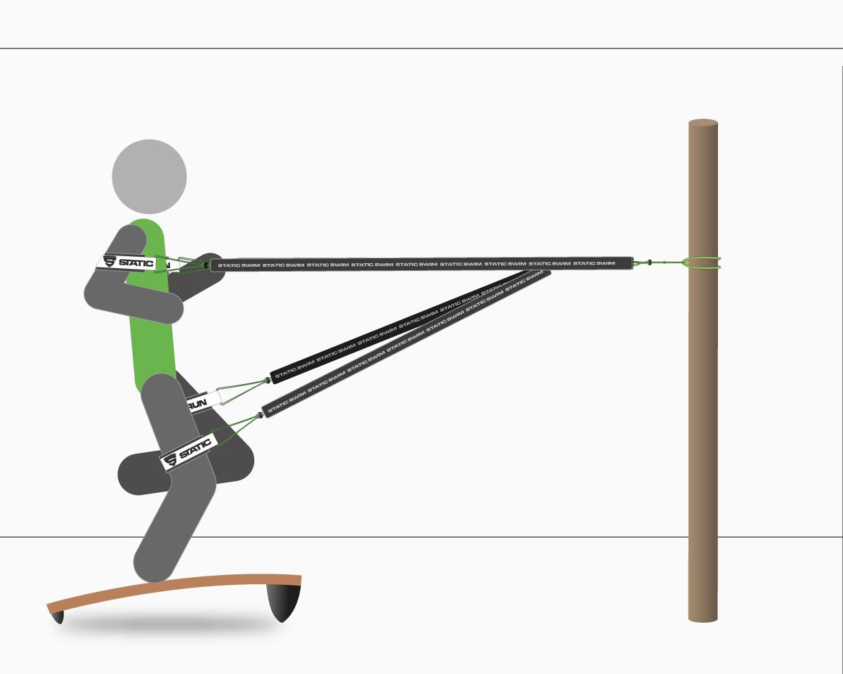 Static Run 4R, schéma, planche, élastiques, straps bras, straps jambes, fixation ancre de porte. Montée.