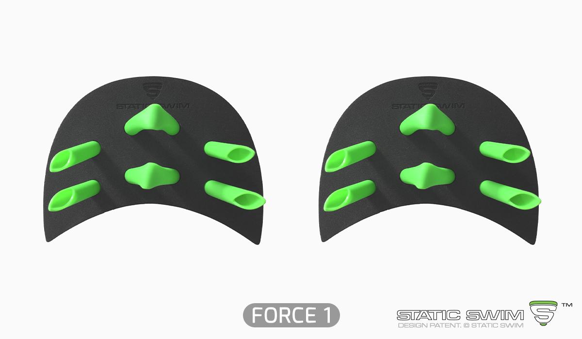Finger paddles de FORCE 1 pour échauffements et débutants en natation.