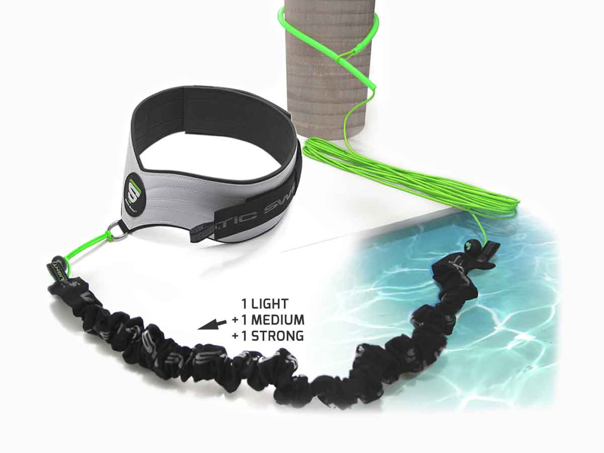 Swimming belt/harness for stationary swimming with resistance band (Lasso/Extension device for pillars, pool ladders, trees…)