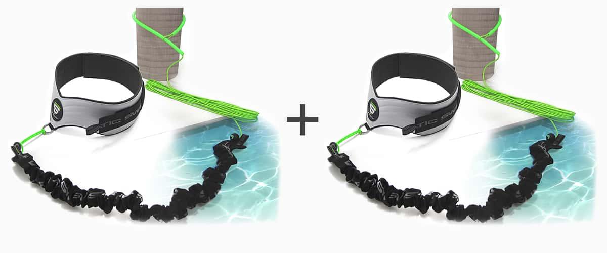 Ceinture et élastique de nage dynamique™ STATIC SWIM™ - deux personnes - piscine poteau